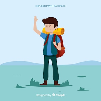 Explorer with backpack background
