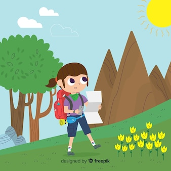 Explorer with backpack