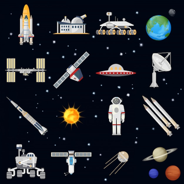 Exploring space technology icons