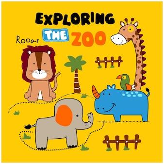 動物園の面白い動物の漫画を探索する