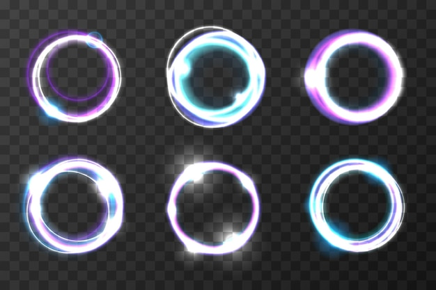 Explosion burst rings  illustration. cosmic vortex holes. glare light circle effect, set of color round
