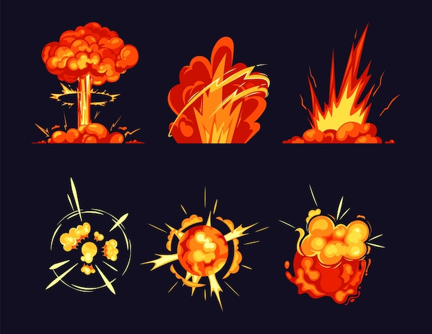 Explosion bursts fire flame bangs and booms icons