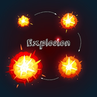 Explosion cartoon design set with process of explosion