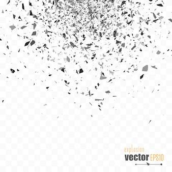 Explosion cloud of black pieces. confetti.
