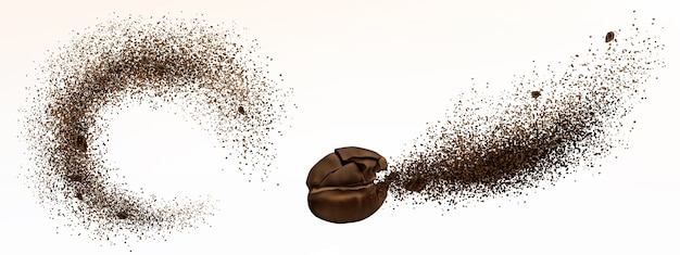 Explosion of coffee bean and powder isolated on white background. realistic illustration of shredded roasted ground coffee and burst of arabica grain with splash of brown dust