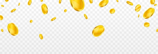 Explosion of coins on isolated transparent background