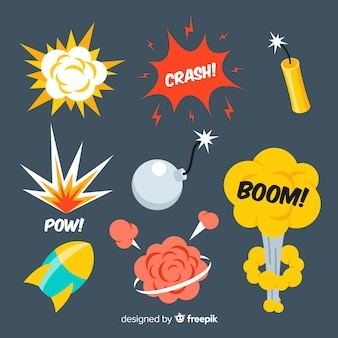 Explosion effect collection cartoon design