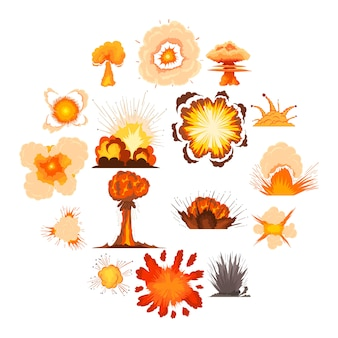 Explosion effect icons set, cartoon style