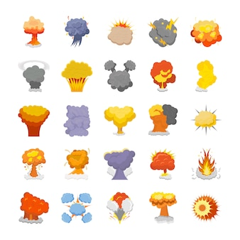 Explosion and fire flat icons