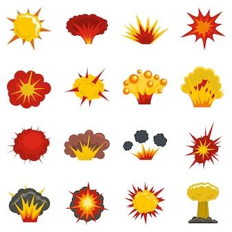 Набор иконок взрыва в плоском стиле