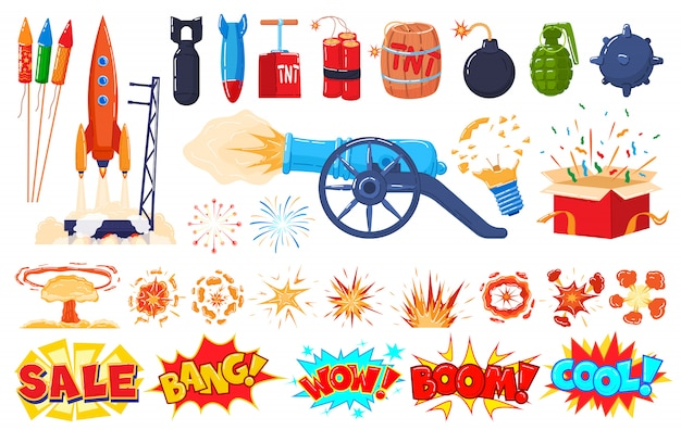 Explosion icons set  on white, cartoon blast, bomb and firework stickers,  illustration