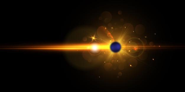 Взрыв звезды в космосе с бликами и яркими лучами.