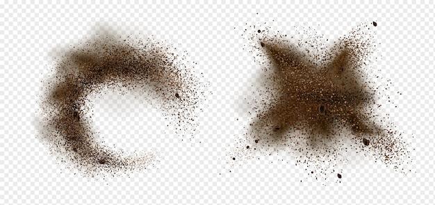 커피 원두와 분말의 폭발. 투명 배경에 고립 된 갈색 먼지의 스플래시와 파쇄 볶은 원두 커피와 아라비카 곡물 조각의 현실적인 그림