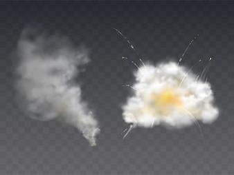 Explosion smoke blast realistic illustration with bomb burst, burning fire smog and firecracker