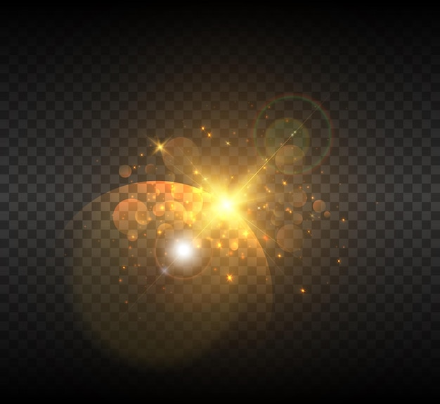Explosion of a star in space with glare and bright rays.