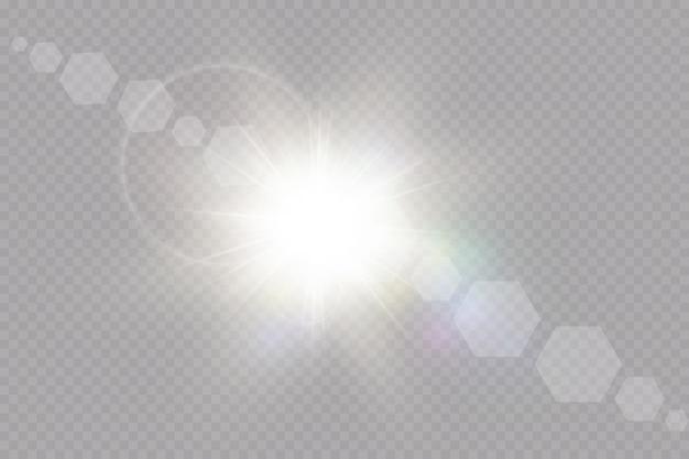 爆発の太陽。透明な日光特殊レンズフレアライト効果。