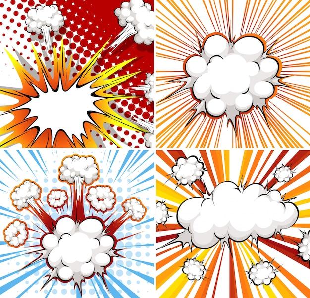 Шаблон взрыва в четырех различных конструкциях