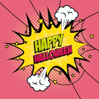 Explosion with happy halloween lettering pop art style icon