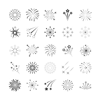 Explosions fireworks contours set
