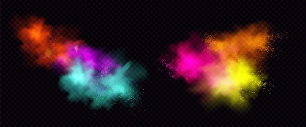 Взрывы цветного порошка или пыли с частицами.