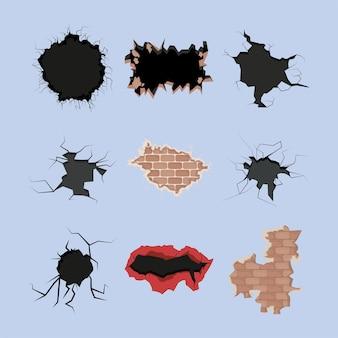 폭발적이고 갈라진 벽