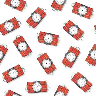 흰색 배경에 폭발 다이너마이트 폭탄 원활한 패턴입니다. 다이너마이트, 수류탄 및 폭탄 아이콘 벡터 일러스트 레이 션