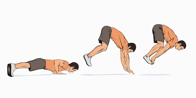Explosive pushups with jump exercise guide scheme