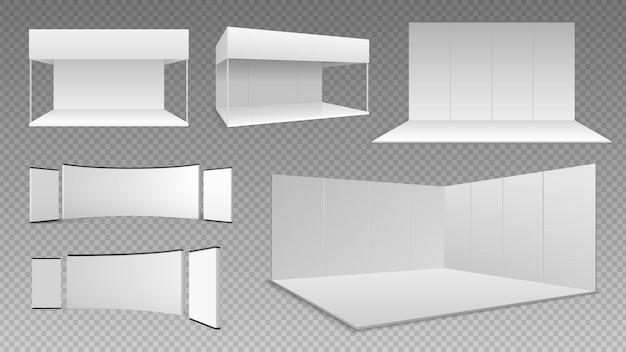 Expoはモックアップです。イベントショールームのデザイン、孤立した3d展示パネル。空のリアルな壁と床、白いブースのディスプレイイラスト。ビジネス貿易機器ベクトルセット、パネル展示会