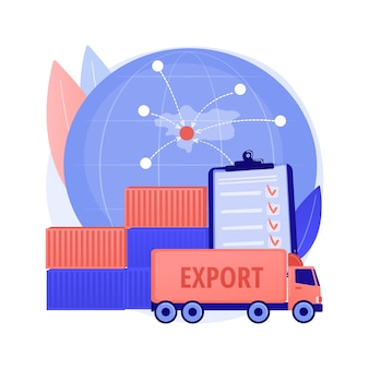 Export control abstract concept vector illustration. licensing services, export of goods, software and technology, national security, warehouse storage, logistic industry, cargo abstract metaphor.
