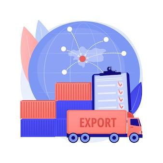 輸出管理抽象概念ベクトル図。ライセンスサービス、商品の輸出、ソフトウェアとテクノロジー、国家安全保障、倉庫保管、物流産業、貨物の抽象的な比喩。