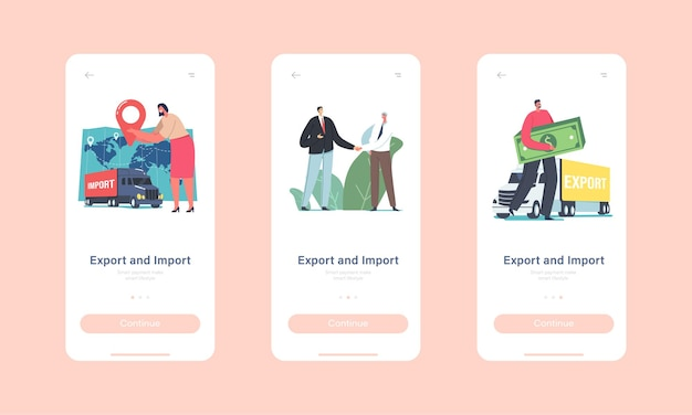 Export or import mobile app page onboard screen template