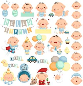 赤ちゃんの少年は、様々なアクションとexpresion
