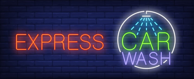 Express car wash neon sign. luminous signboard with car shower.