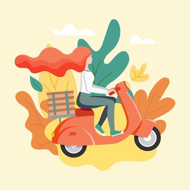 스쿠터로 도시 배달을 특급합니다. 빠른 배송 개념. 빨간 머리 소녀 택배 피자 상자와 오토바이 타기. 여성 캐릭터와 단풍 배달 서비스 포스터. 삽화