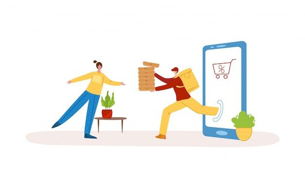 Экспресс ежедневная доставка еды или посылок и концепция покупок в интернете - быстрая доставка на дом, курьерская доставка, коммерческая служба
