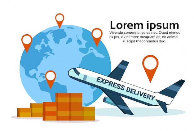 Express delivery airplane transport world map geo tag box parcel