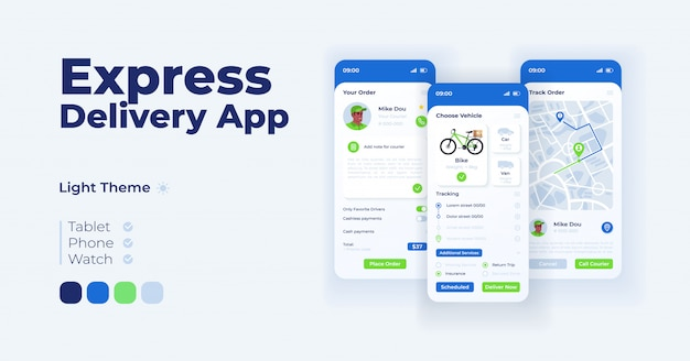 速達アプリ漫画のスマートフォンインターフェイステンプレートセット。モバイルアプリの画面ページのライトモードのデザイン。アプリケーションの注文詳細とルーティングui。フラットなイラスト付きの電話ディスプレイ