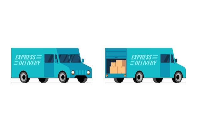 速達青いトラック側正面図と背面図セット高速輸送サービスバンコンセプト等尺性