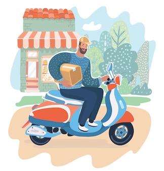 빠른 배송, 빠른 배송 개념. 상자를 들고 스쿠터 오토바이 또는 오토바이를 타는 행복한 택배 남자. 그는 거리에서 운전하고 있습니다. 현대적인 개념의 벡터 만화 일러스트 레이 션