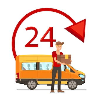 Express delivery flat vector cartoon illustration