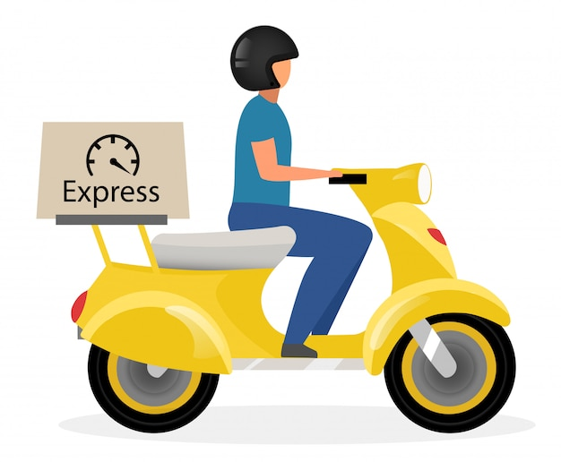 Express delivery flat vector illustration. courier riding yellow scooter with parcel cartoon character isolated. deliveryman driving motorcycle, motorbike. shipping service concept