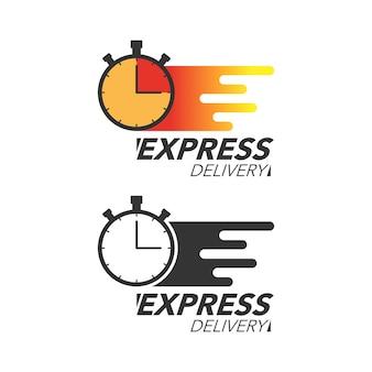 빠른 배달 아이콘 개념입니다. 서비스, 주문, 빠르고 무료 배송을 위해 시계 아이콘을 중지하십시오. 현대적인 디자인.