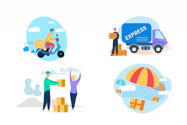 Express delivery icon set on white background.