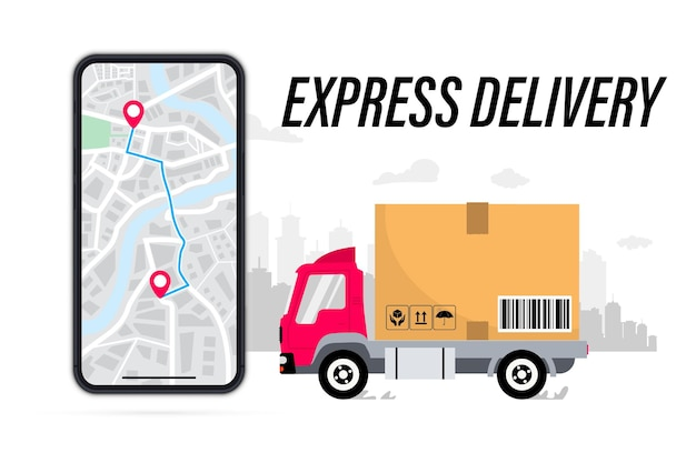 速達サービスダンボール箱をつけた配達用トラックは街の背景eコマースです