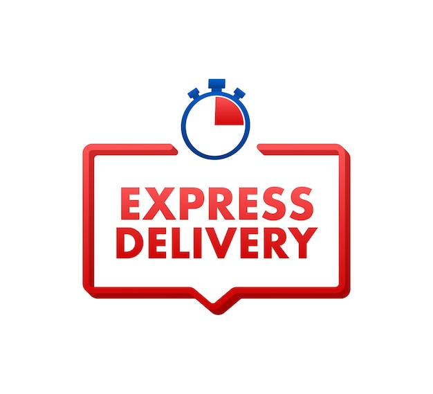 Express delivery service. fast time delivery order with stopwatch. vector stock illustration.