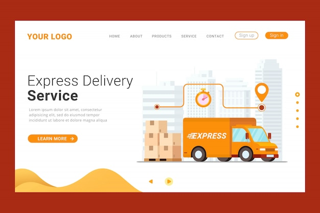 Express delivery service landing page template