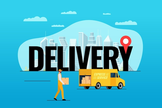 Express delivery service lorry truck ordering concept big inscription with gps pin geotag on modern