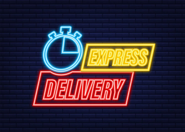 Express delivery service neon icon. fast time delivery order with stopwatch. vector stock illustration.