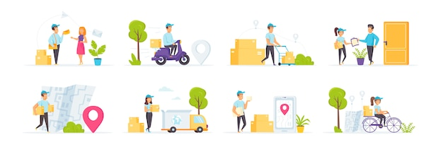 Express delivery service set with people characters in various scenes and situations.