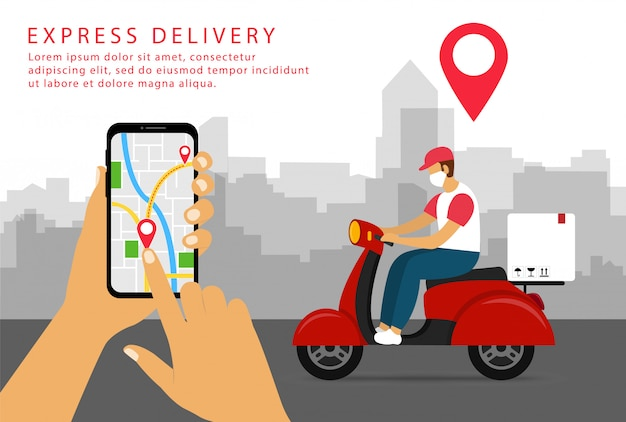 Express delivery. shipping in smartphone. delivery man on a scooter in a mask. flat style.